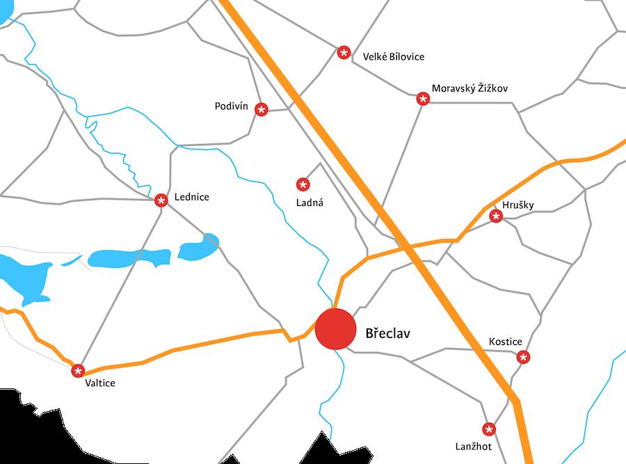 Mapa obcí pro rozvoz